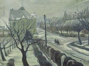 Zima-v-Bechyni-pohled-z-okna-1945-olej